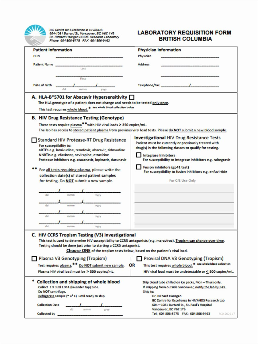 Lab Requisition form Template Template Design Ideas