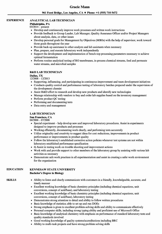 Lab Technician Resume Samples