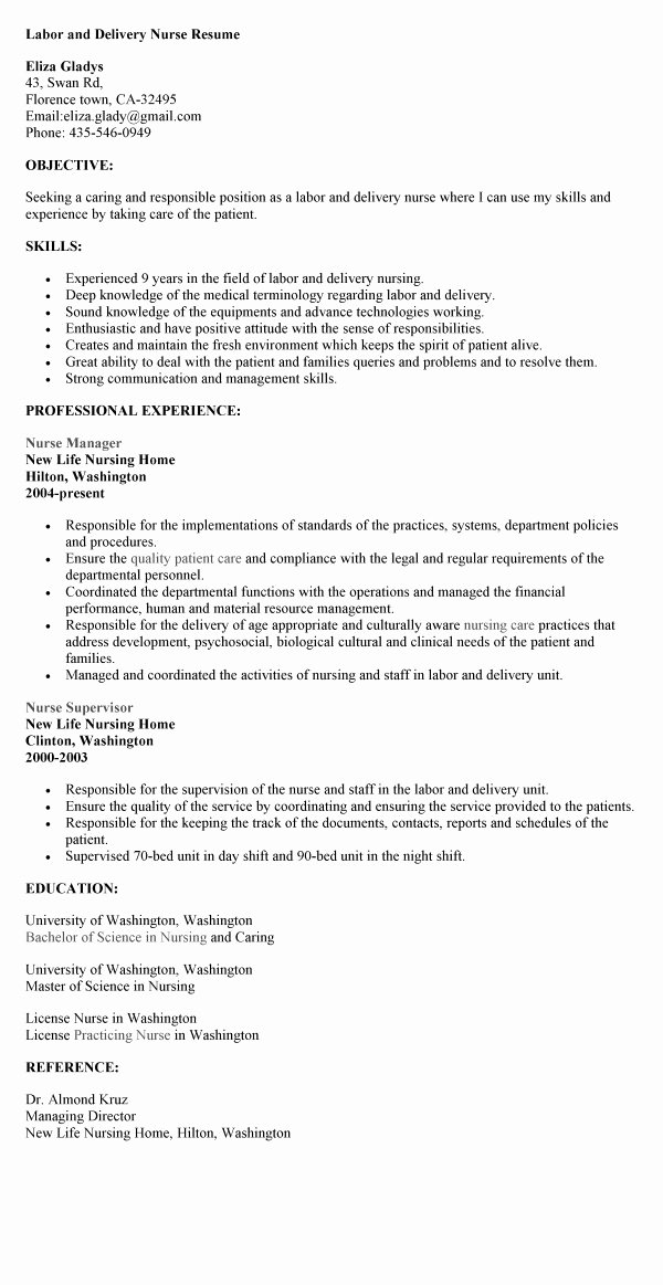 Labor and Delivery Nurse Resume Berathen Labor and