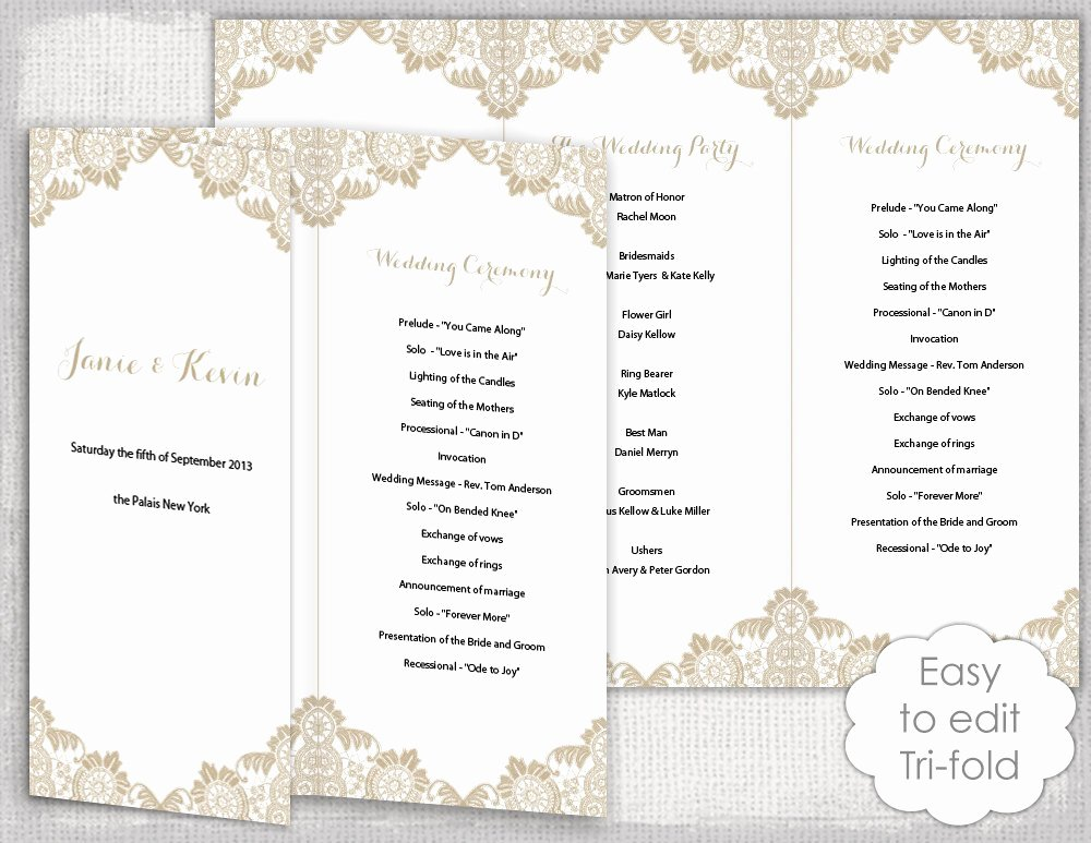 Lace Wedding Program Template Antique Lace Diy