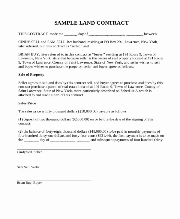 Land Contract Example What You Should Wear to Land Contract