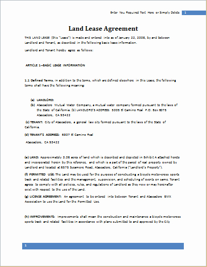 Land Lease Agreement Template for Word