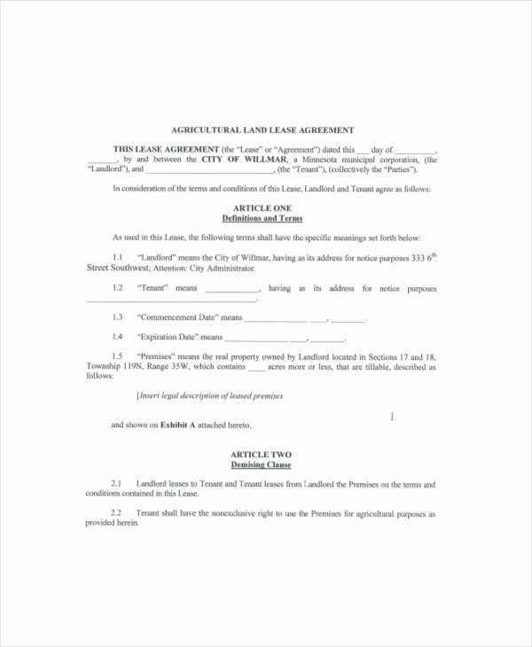 Land Lease Template 7 Free Word Pdf Documents Download