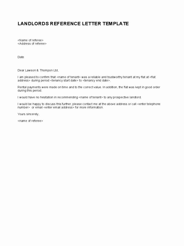 Landlord Reference Letter Template 5 Free Templates In Pdf