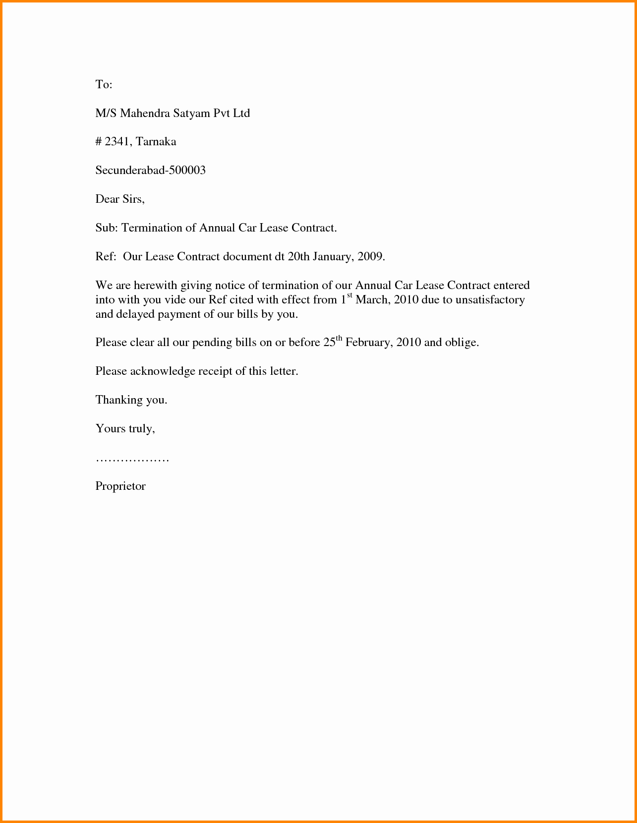 Landlord Rental Termination Letter Template Sample Lease