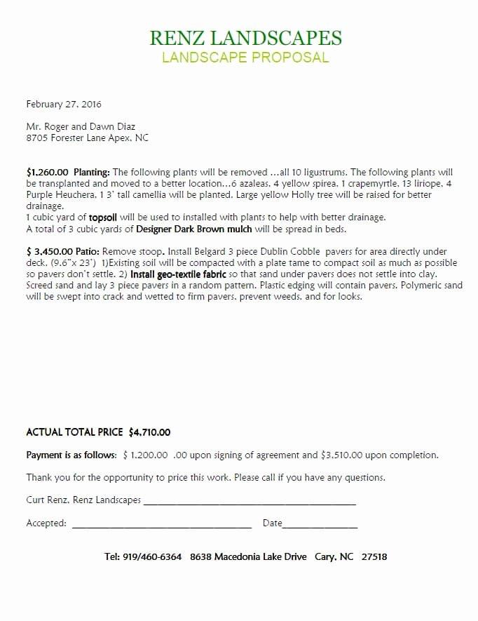Landscape Design Agreements and Proposal Samples