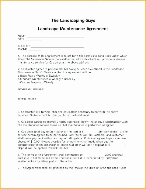 Landscape Maintenance Contract Template Pool Sample