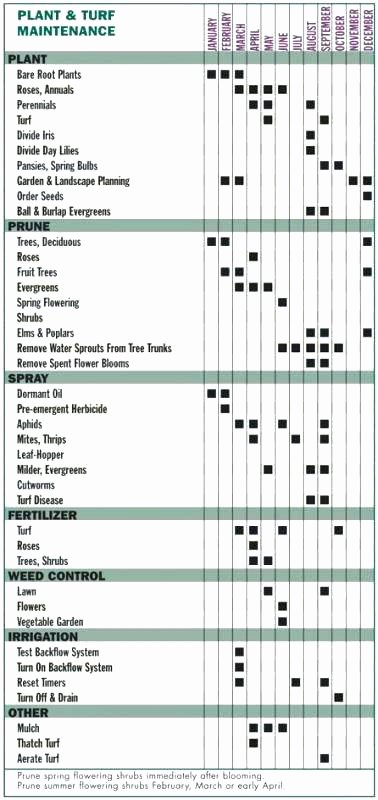 Landscape Maintenance Schedule Lawn Mower Template