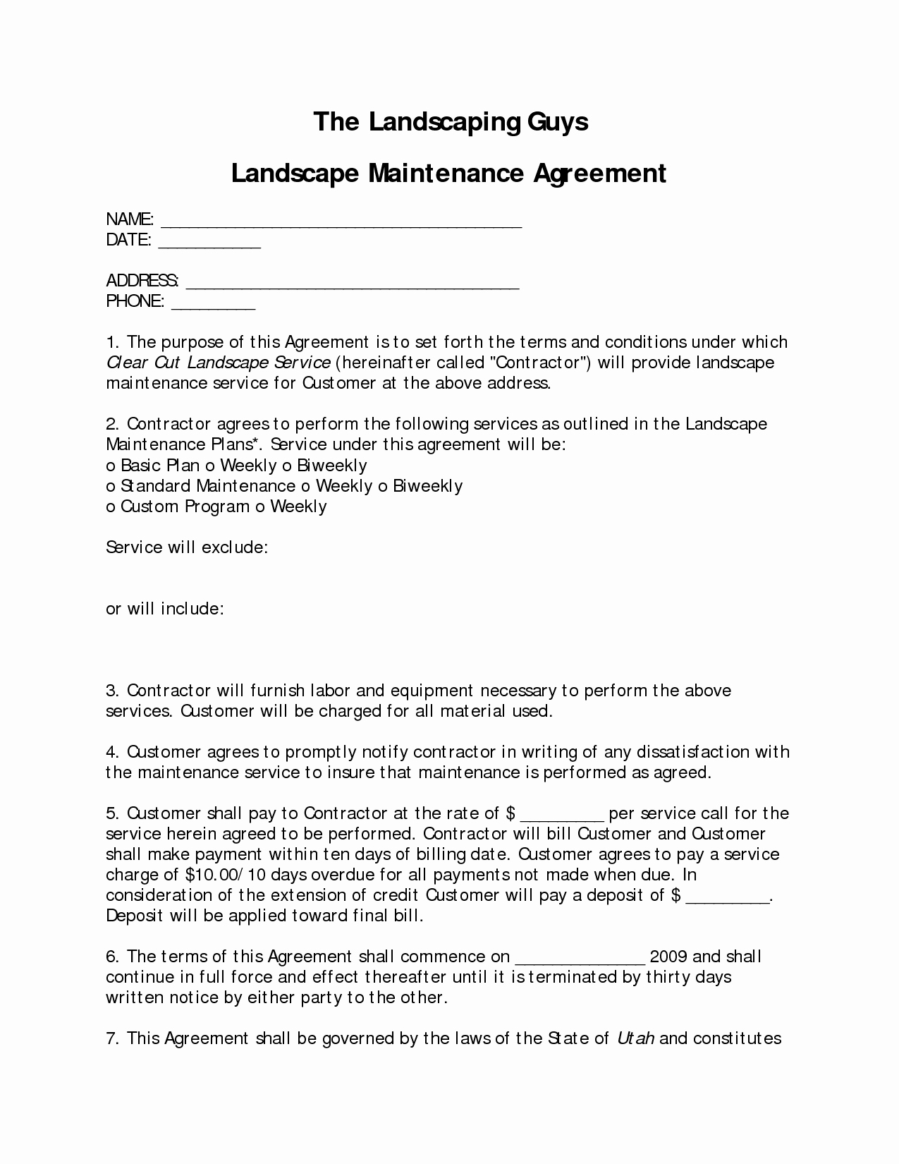 6 Landscaping Services Contract Templates Pdf Sample 8 Lawn Service