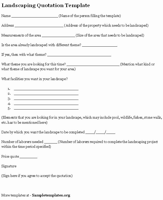 Landscaping Contract Template Free Printable Documents