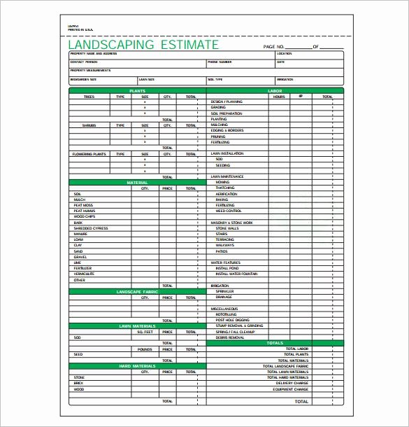 Landscaping Estimate Template Pdf format Download 585