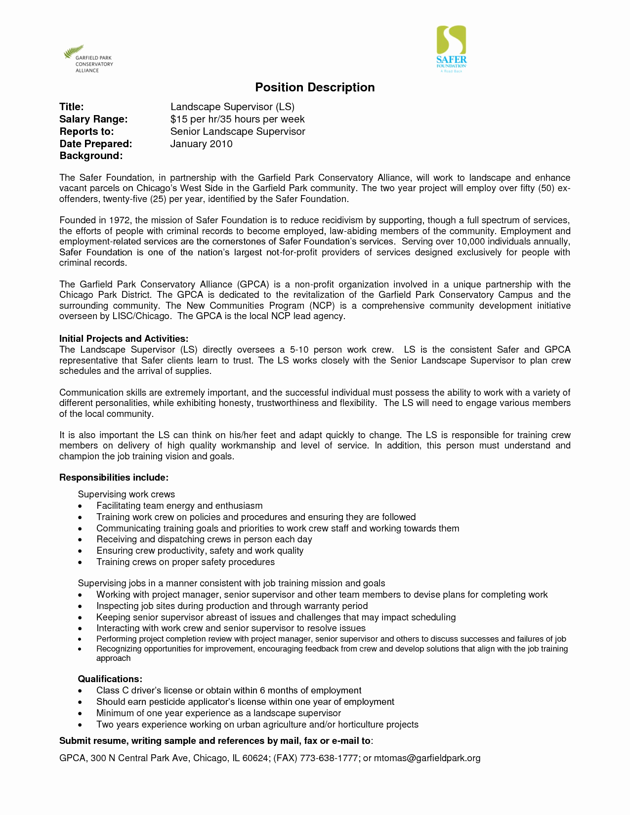 Landscaping Job Description for Resume Resume Ideas