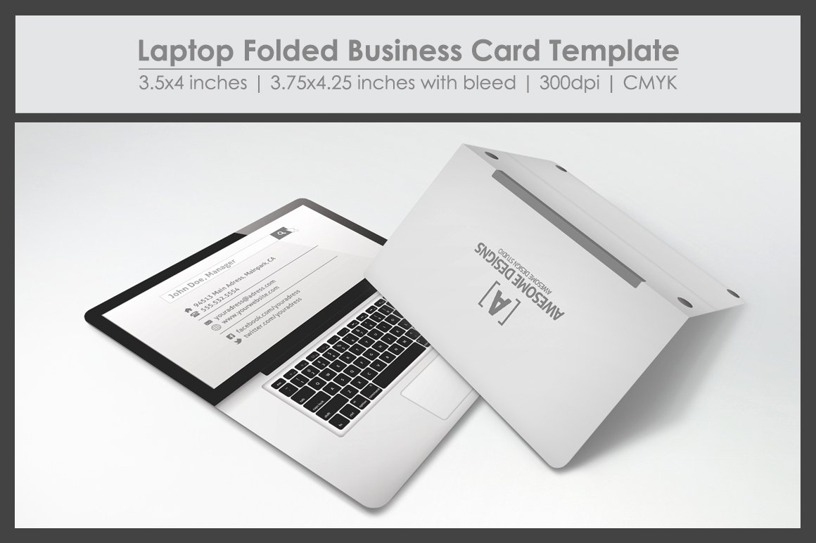 Laptop Folded Business Card Template Business Card