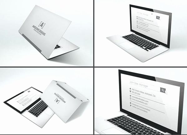 Laptop Folded Business Card Template Free Folding Business