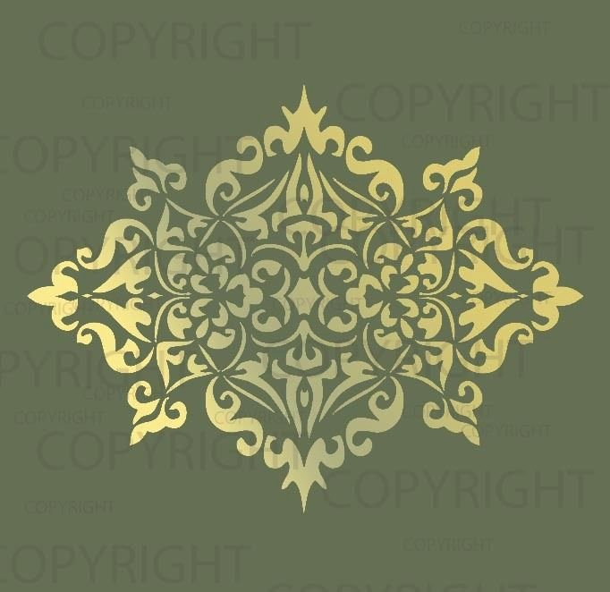 Large Wall Damask Stencil Pattern Faux Mural 1023