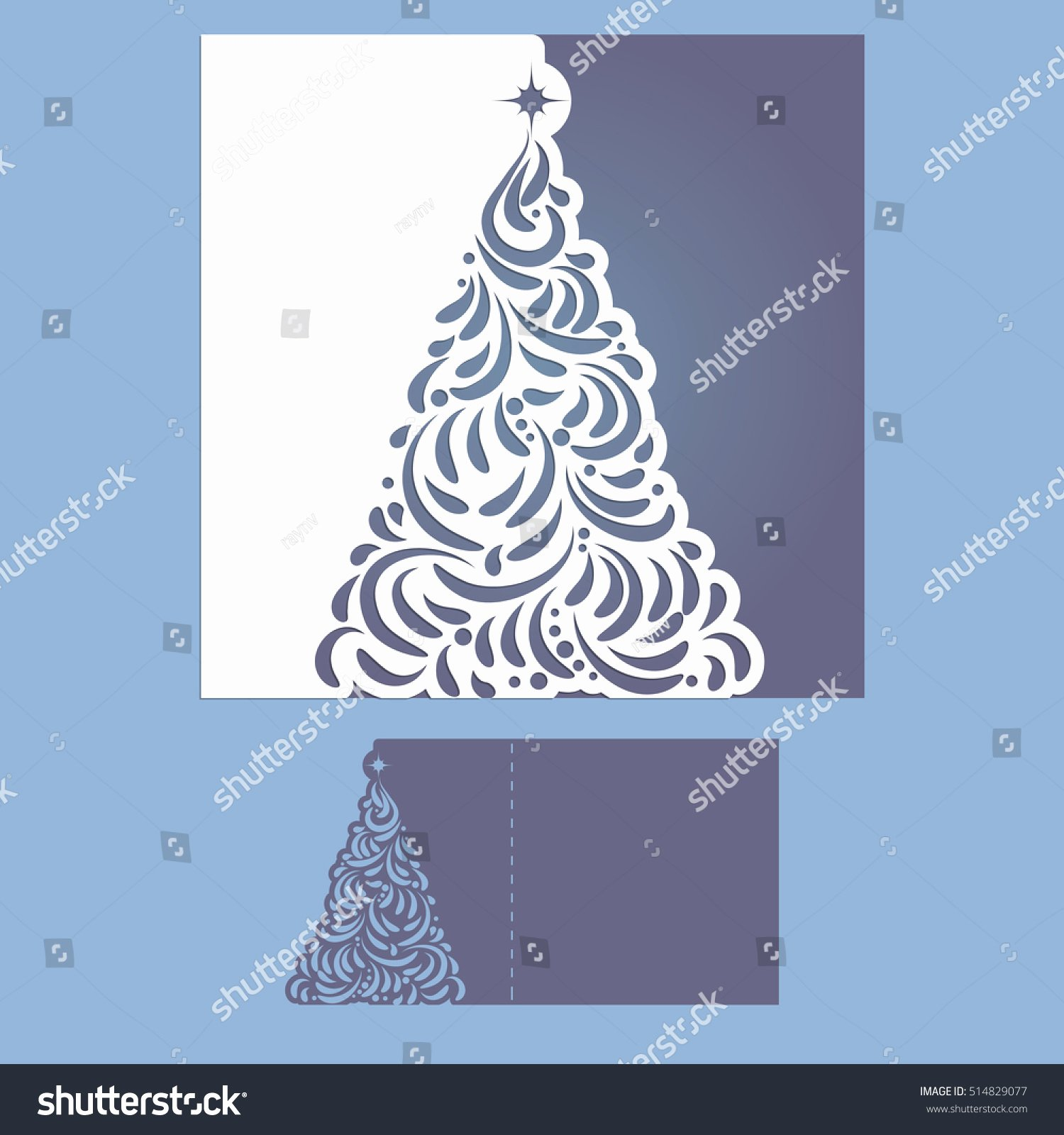 Laser Cut Template Christmas Cards Square Stock Vector