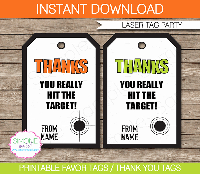 Laser Tag Party Favor Tags Template