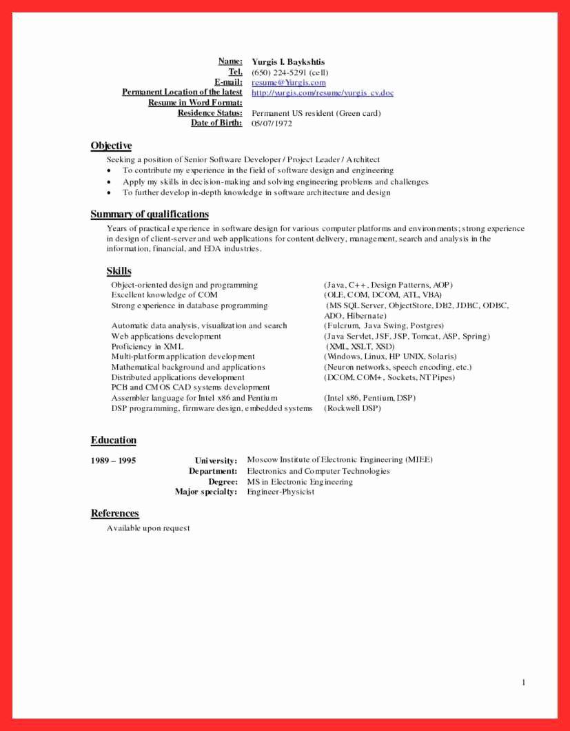 Latest Resume Sample