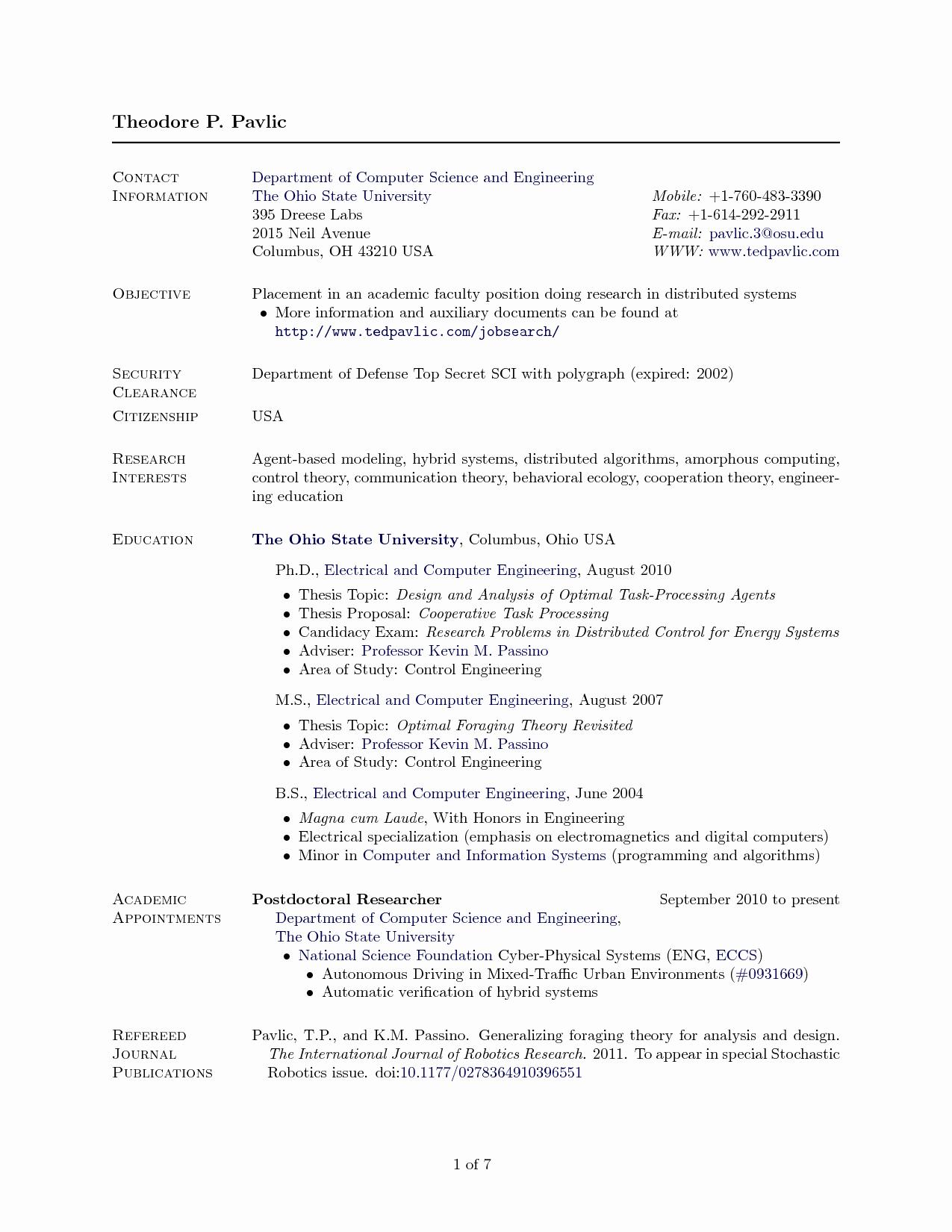 Latex Resume Template Puter Science