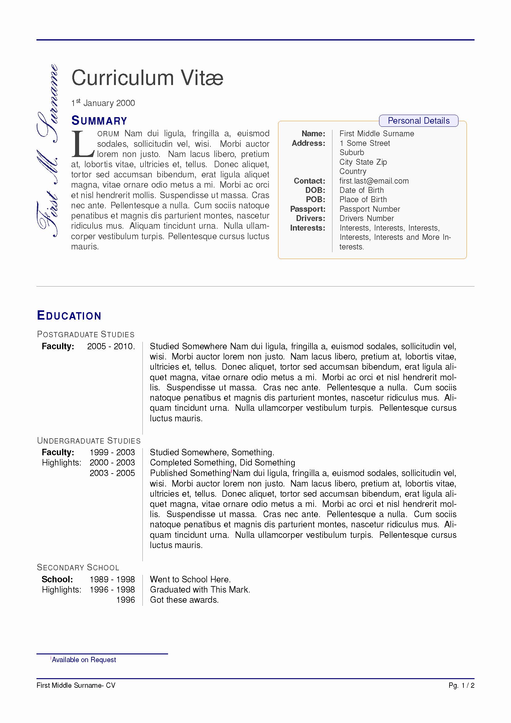 Latex Template Resume