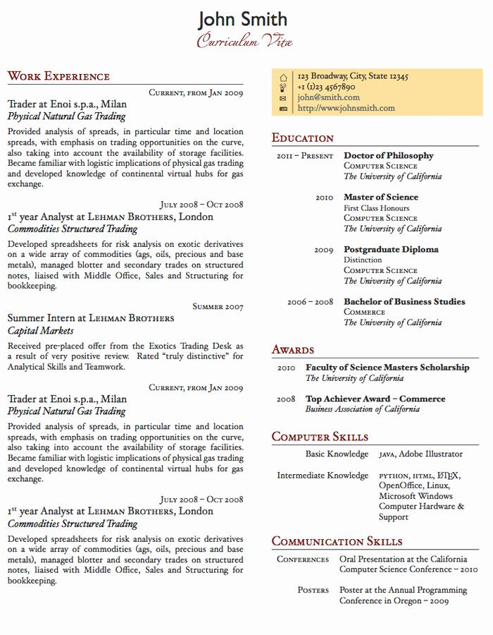 Latex Templates Curricula Vitae Résumés