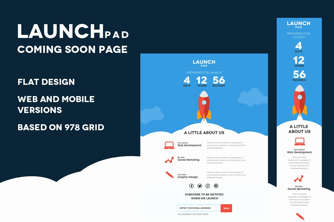 Launch Pad Ing soon Psd Template Website Templates On