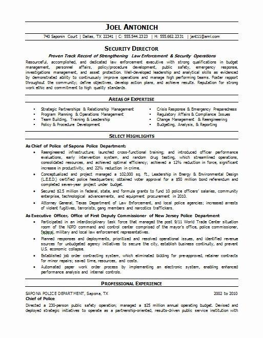Law Enforcement Security Resume