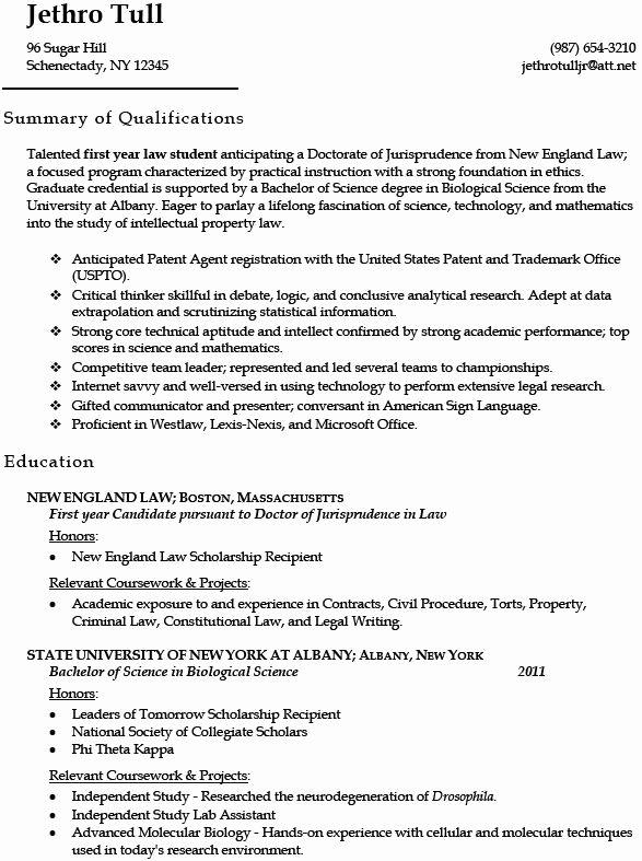 law school graduate resume