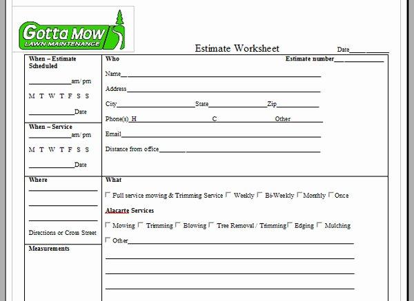 Lawn Care Estimate forms Free Printable
