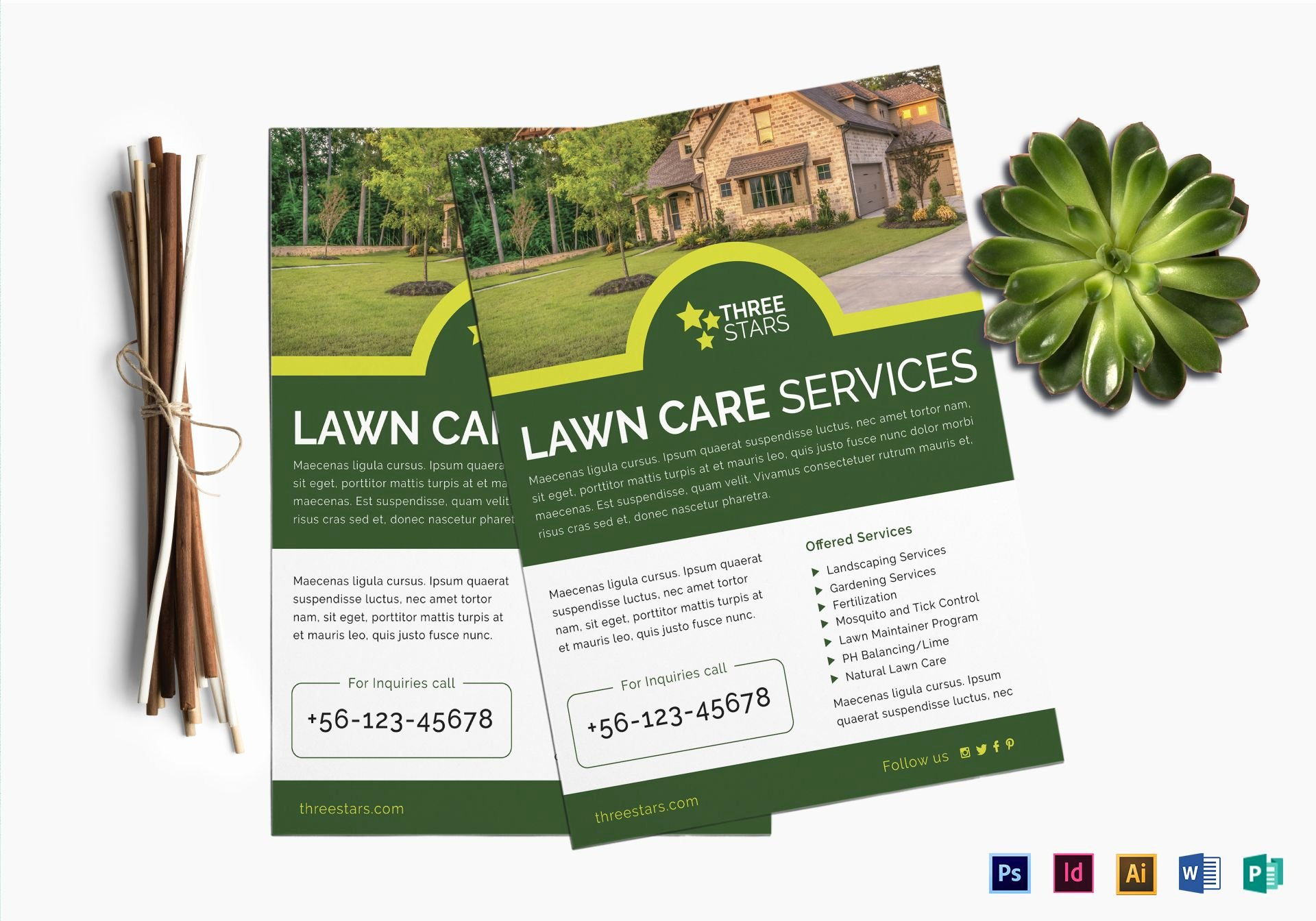 Lawn Care Flyer Design Template In Psd Word Publisher