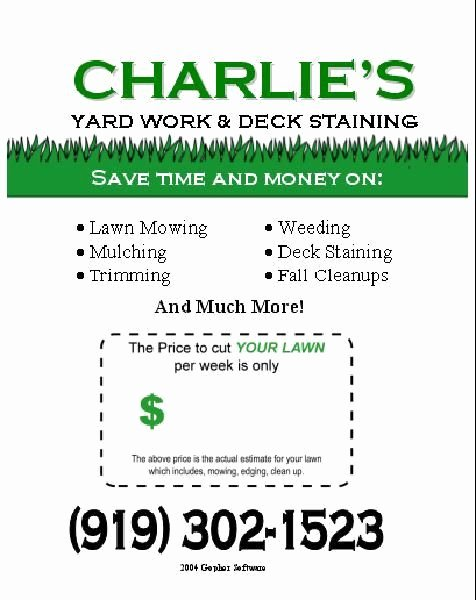 Lawn Care Flyer Template Free F and Football Season Lawn