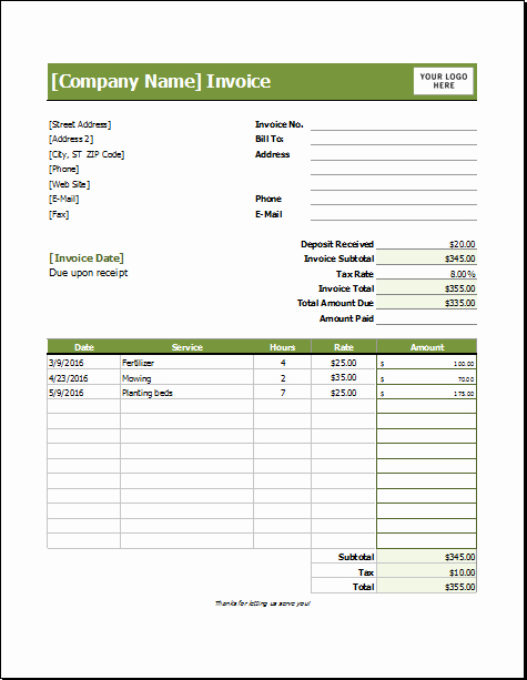 Lawn Care Invoice Template for Excel