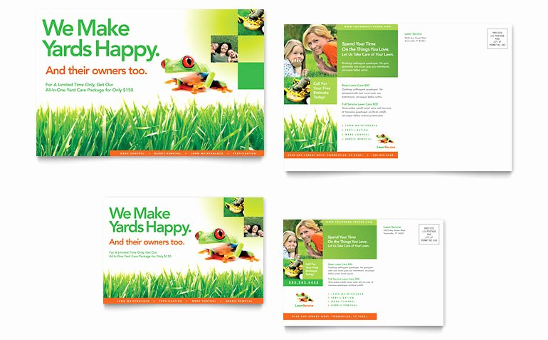 Lawn Maintenance Postcard Template Word & Publisher