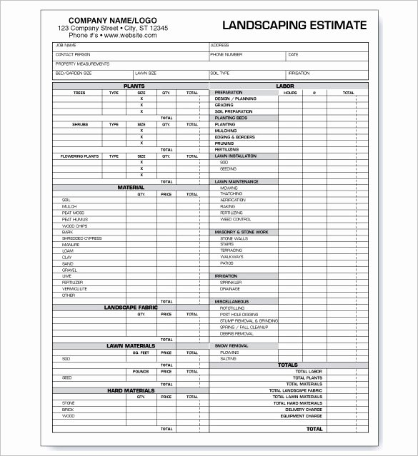 Lawn Mowing Estimate Template • Smdlab Invoice