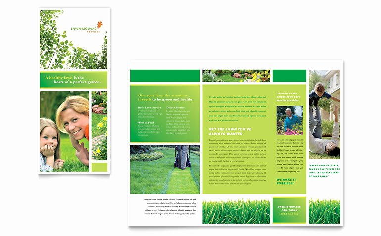 Lawn Mowing Service Brochure Template Word & Publisher