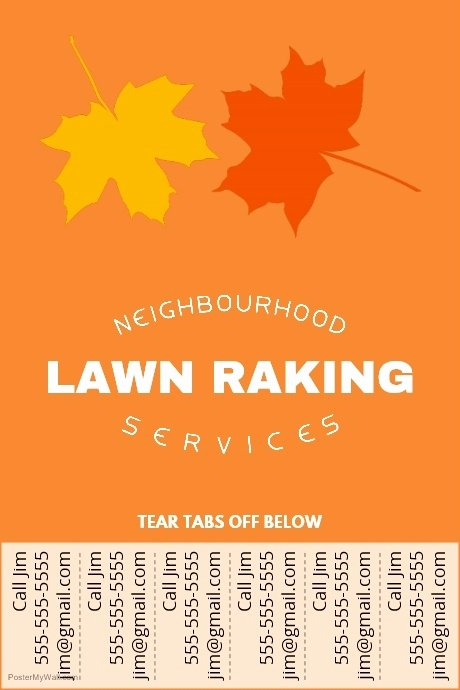 Lawn Raking Poster with Tear Off Tabs Template