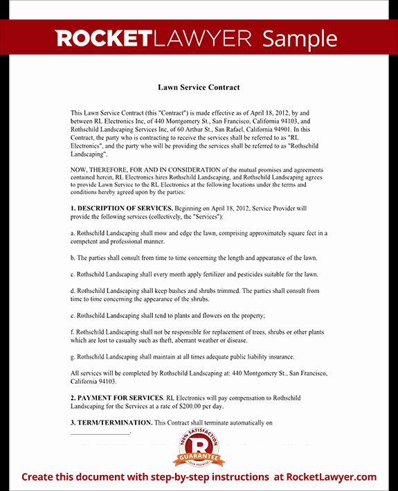 Lawn Service Contract Template with Sample