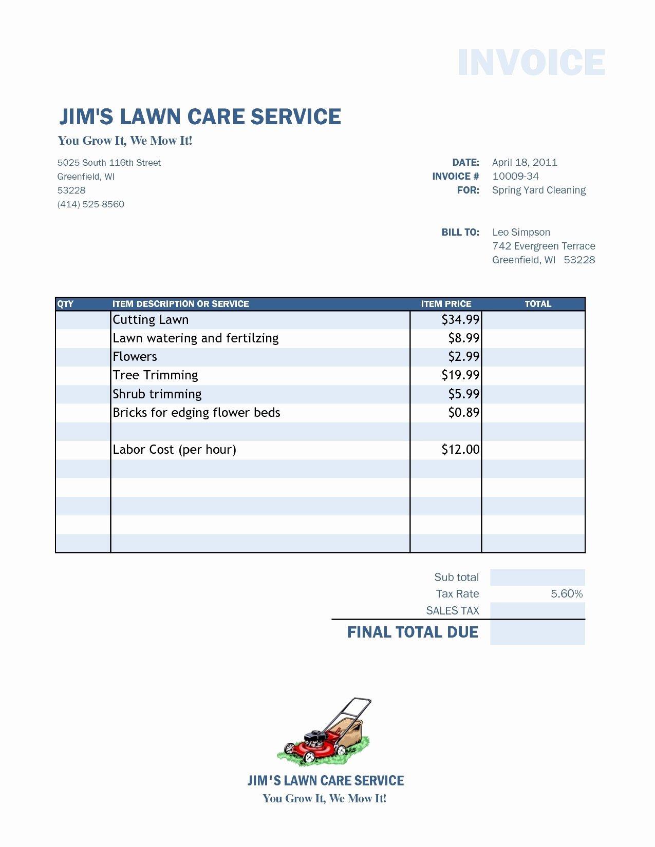 Lawn Service Invoice Invoice Template Ideas