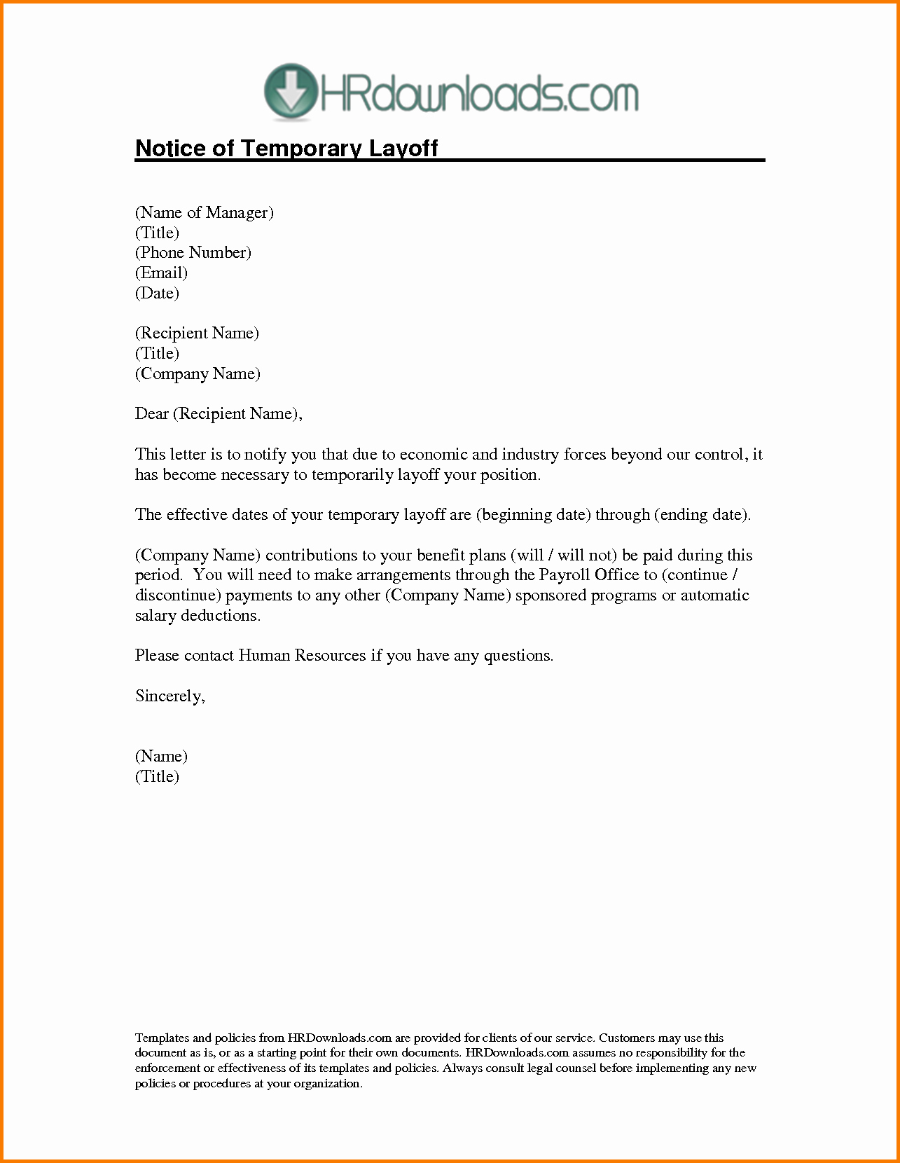 Layoff Letter Template