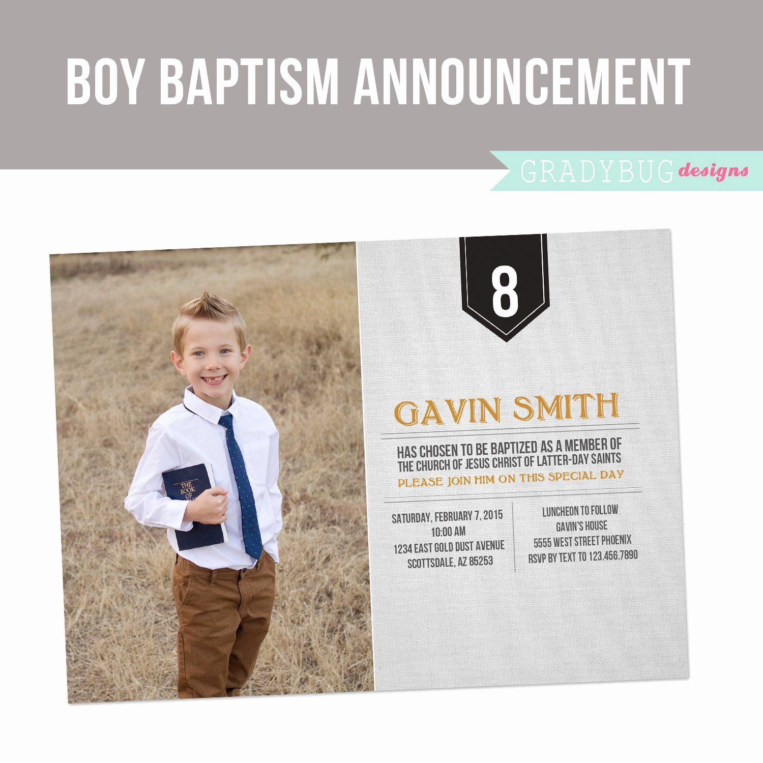 Lds Baptism Invitation Boys Baptism by Gradybugdesigns On Etsy