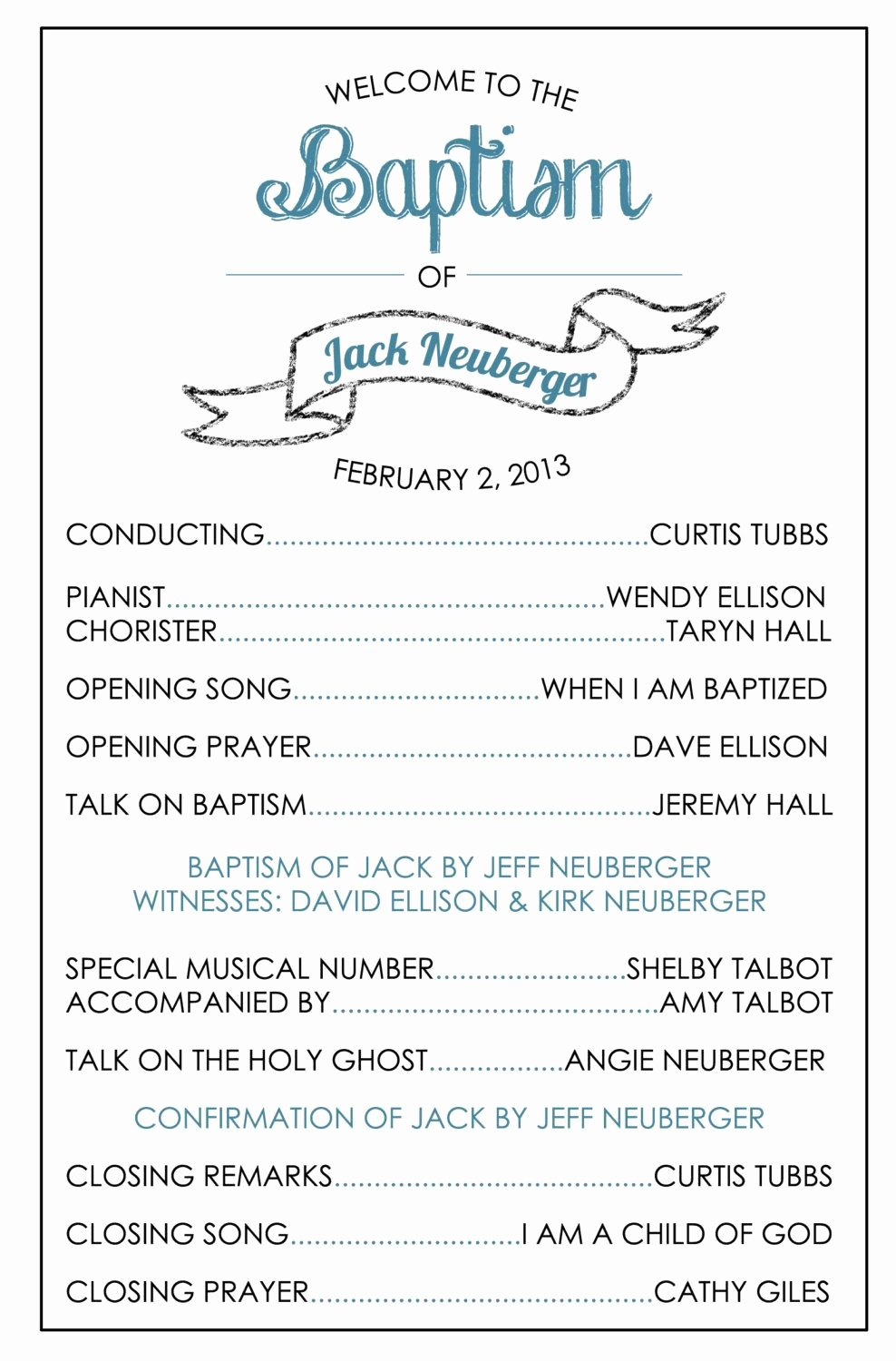 Lds Baptism Program Template Church Pinterest