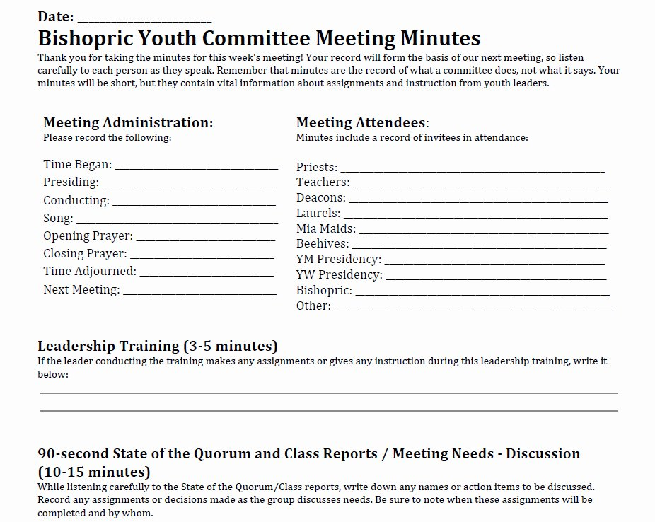Lds Ward Council Agenda Template to Pin On