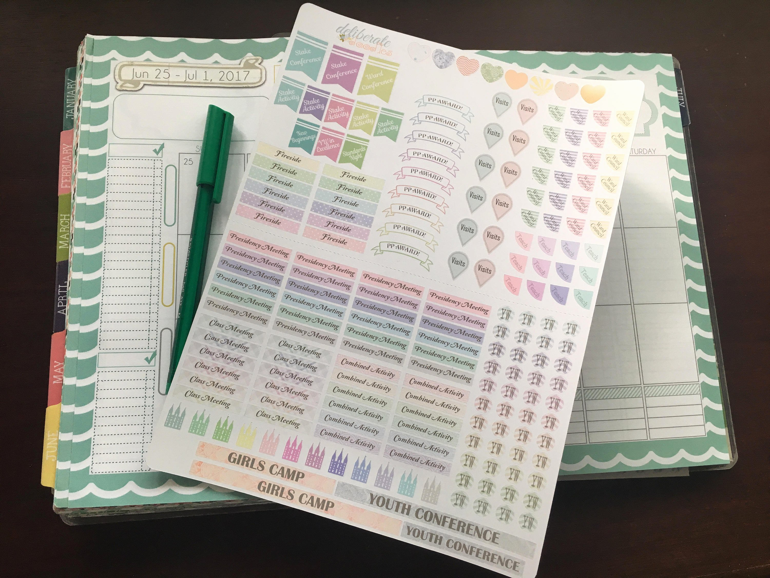 Lds Young Women Presidency Planner Stickers Made to Fit