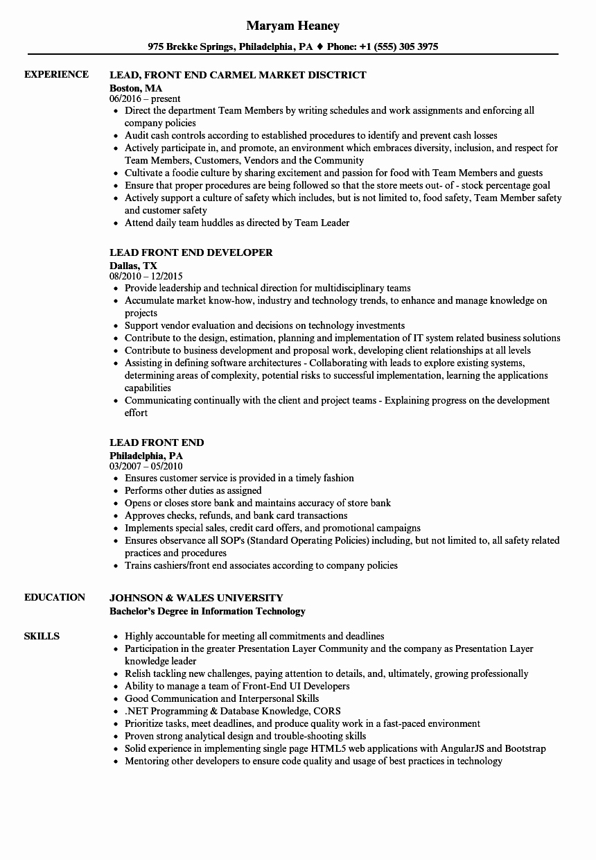 Lead Front End Resume Samples