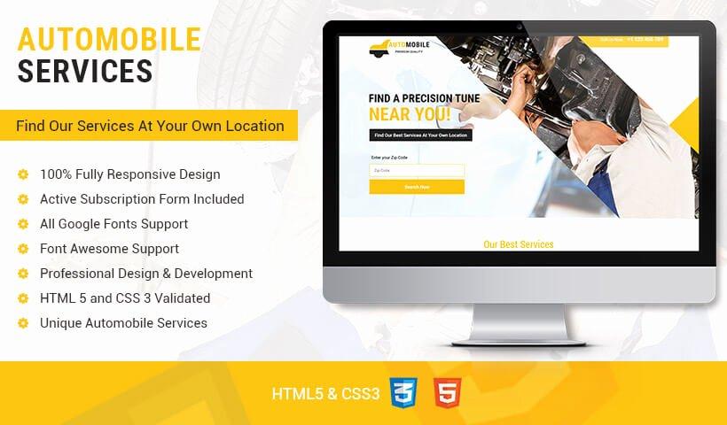 Lead Gen Responsive Auto Mobile Landing Page Design