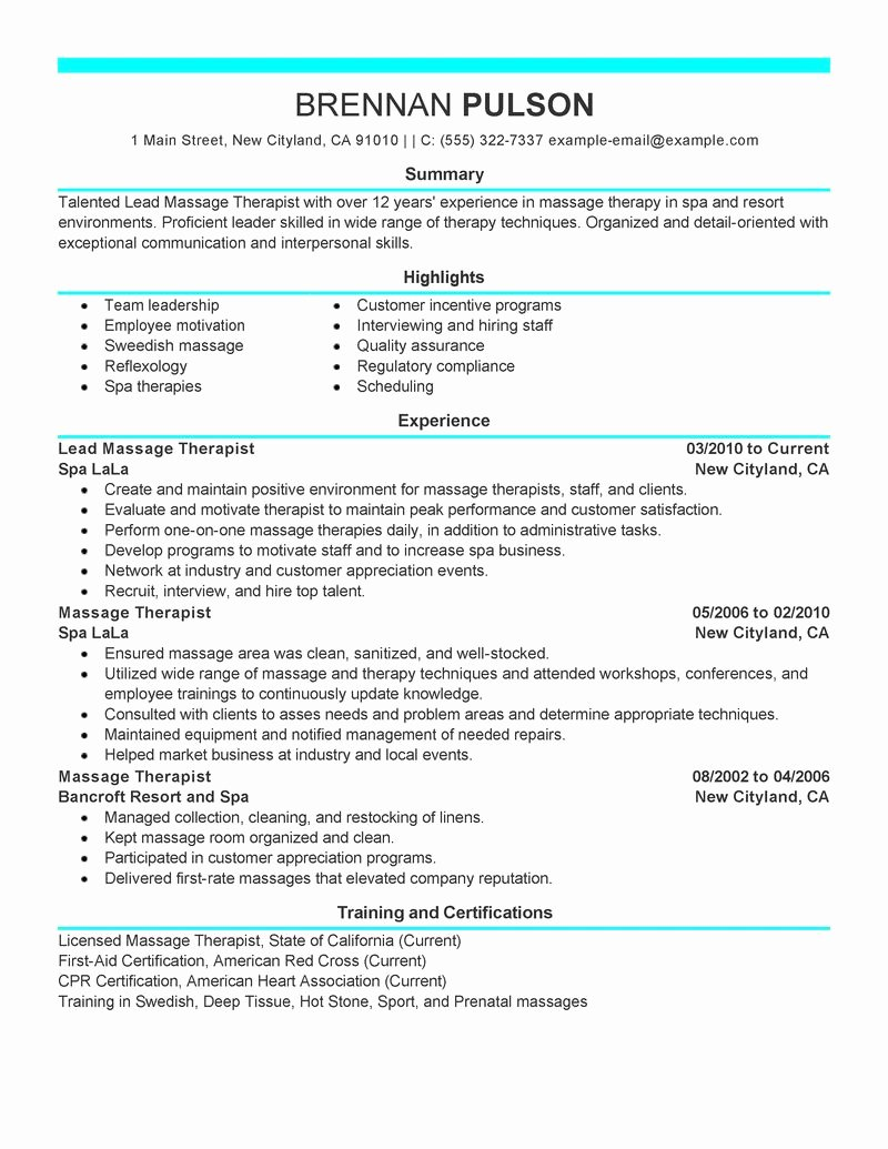 Lead Massage therapist Resume Examples