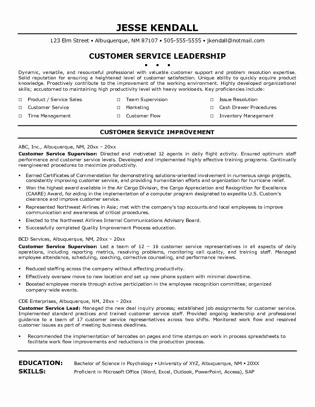 Leadership Customer Service Resume Examples Free Download