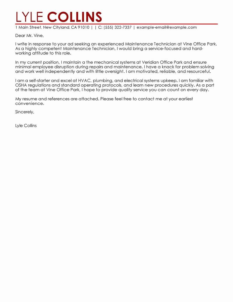 Leading Professional Maintenance Technician Cover Letter