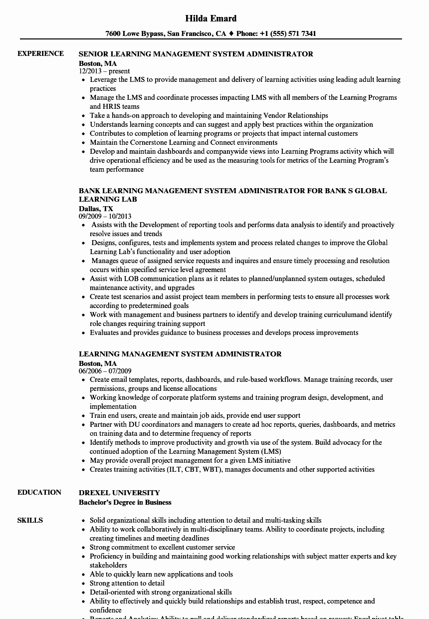 Learning Management System Administrator Resume Samples