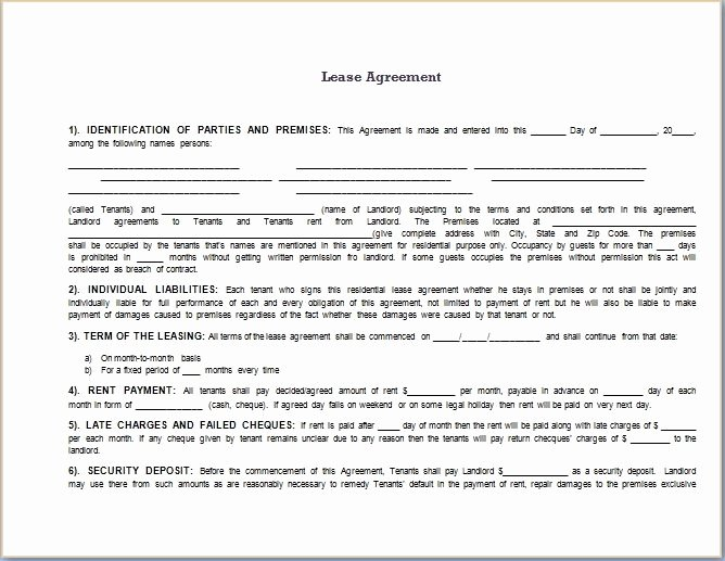 Lease Agreement Template Word Beepmunk